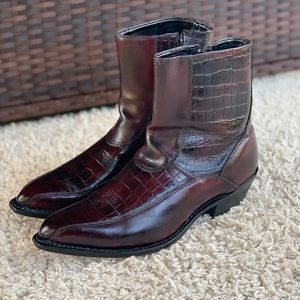 Laredo Red Brown Croc Leather Pointed Toe Ankle Boots Zip Western Men's Size 11